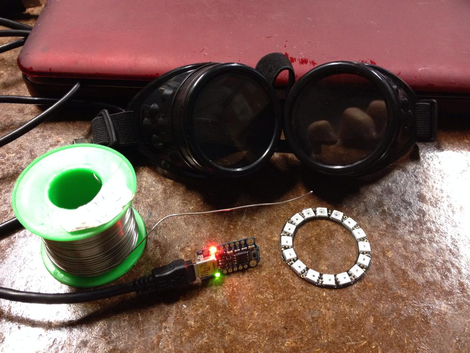 Trinket, neopixal ring and goggles